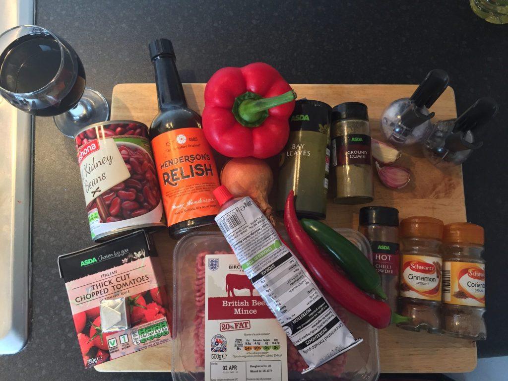 chilli con carnie ingredients