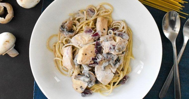 Mushroom and Halloumi Spaghetti