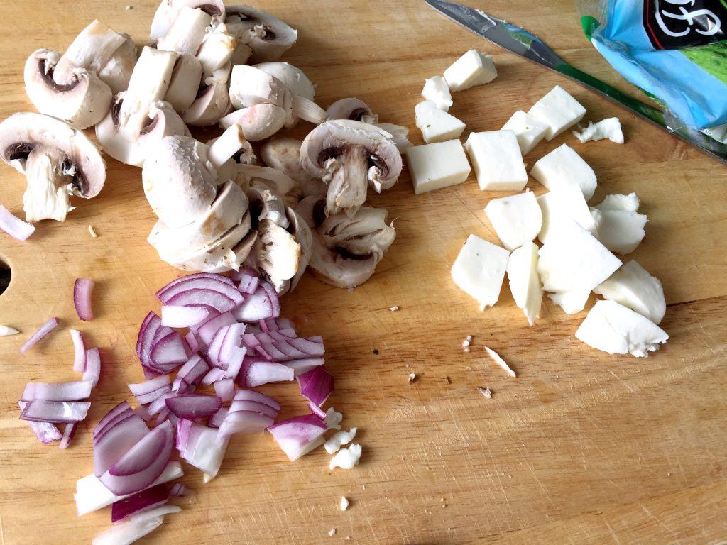 chopped mushrooms and halloumi