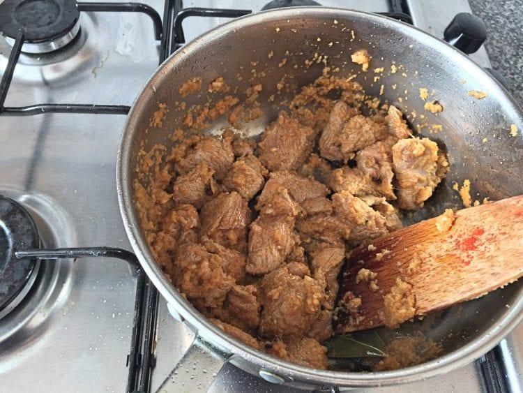 browning lamb in saucepan