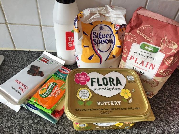 Ingredients for Jaffa cake Shortbread
