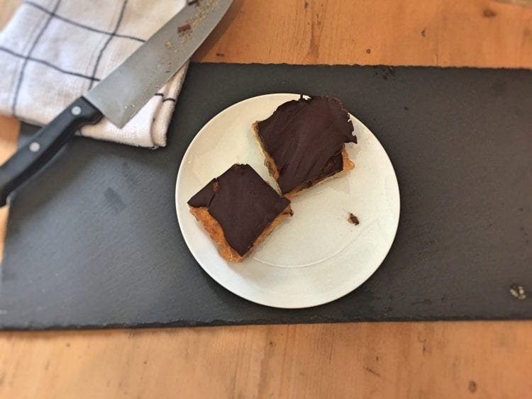 Jaffa Cake Shortbread Squares on plate