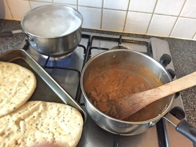 simmering on hob