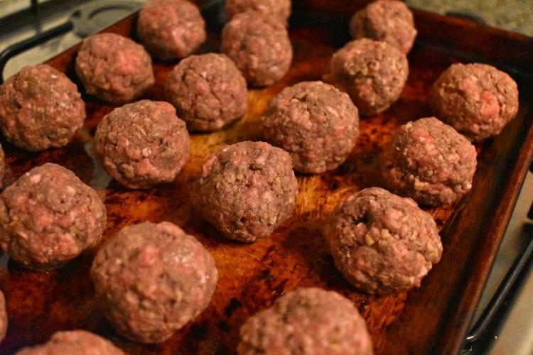 Haggis Meatballs on Baking tray