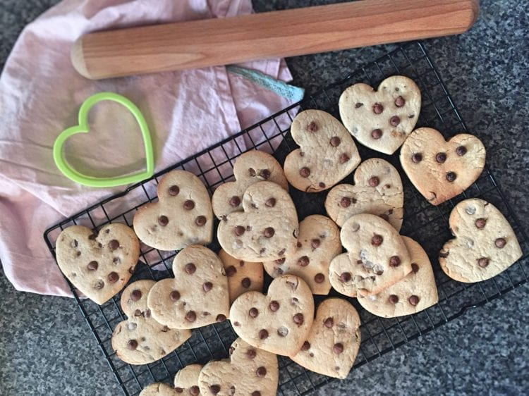 Cooling Chocolate Chip Valentines cookies