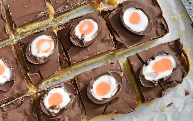 Cut Creme Egg Millionaire Shortbread