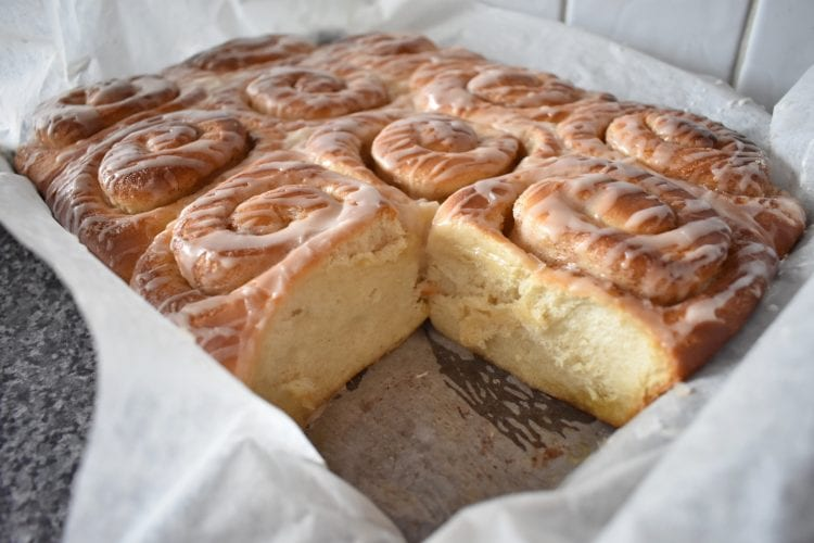 Side of The Best Ever Cinnamon Rolls in tray