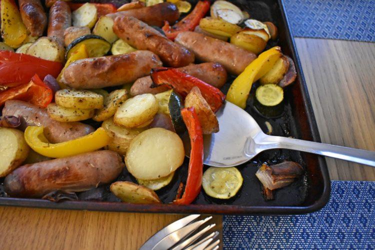 Serving Simple Sausage Traybake