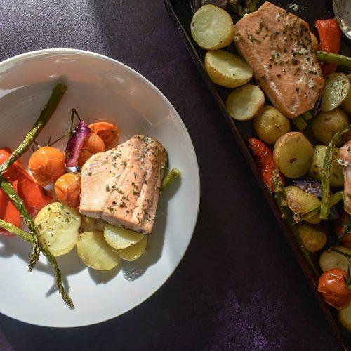 Salmon, potatoes and veg baked