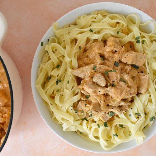 Pork Stroganoff served with pasta